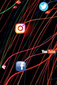 social media logos and light beams